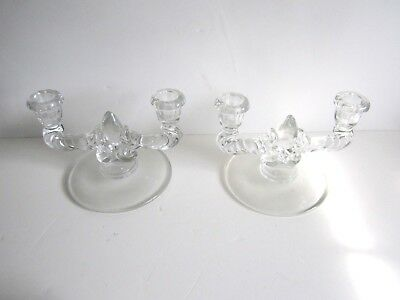 Vintage Pair Of Double Candlestick Holders--Clear Glass Design