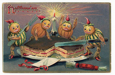 1909 Halloween Postcard Tuck Series #150 German Candy Containers Cutting Cake #1