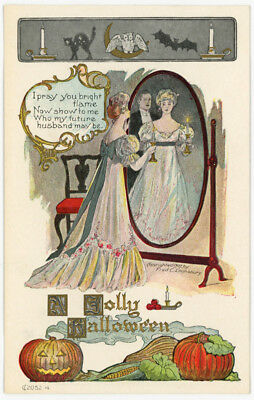 1907 Unsent Halloween Postcard Fred Lounsbury 2052-4 Woman Looking in Mirror #17
