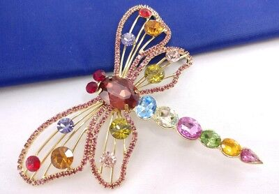 "(W) 4"" Dragonfly Insect Bug Crystal Colorful Gold Tone Rhinestone Brooch Pin"
