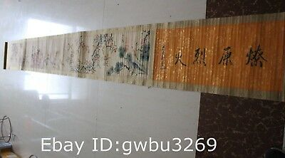 335cm Rare Old Chinese Very Long Scroll Painting Flower and Bird theme Map Marks