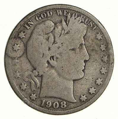50c United States Coin - 1908-S Liberty Barber 90% Silver US Half Dollar *273
