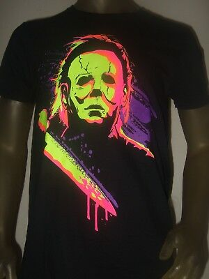New Mens M 2X Michael Myers Halloween Neon Horror Movie Psycho Knife Mask Shirt