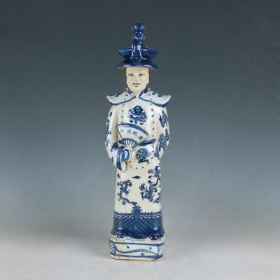 RareChina Underglaze Blue Porcelain Hand Carved Ancient Chinese Officials Statue