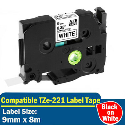 TZ-221 Compatible Label Tapes for Brother P-Touch PT1090 PTH105 Black on White