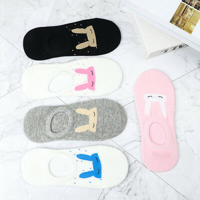 Women Girls Cute Ear Rabbit Design Cotton Socks Low Cut Ankle Socks Boat Sock