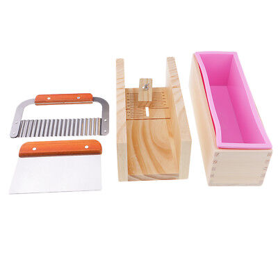 DIY Loaf Soap Mould Set Wooden Box Soap Cutter Tools W Stainless Steel Blade