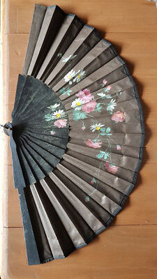 Antique Victorian hand painted cloth fan