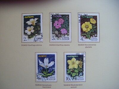 Set of 5 Flower stamps.RUSSIA CCCP.Issued 1977