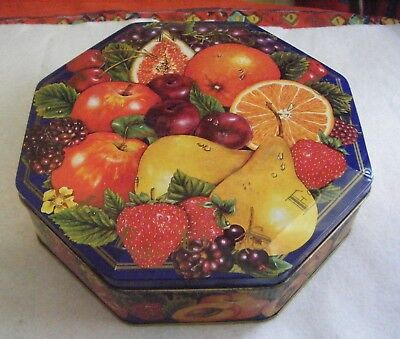McIntyre and Rose ' Summer Fruits' designs empty biscuit tin.