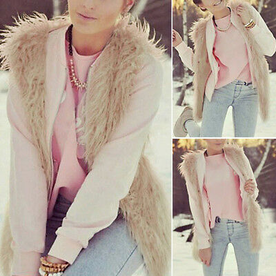 1pc Coat Warm Vest Sleeveless Winter Shirt Faux fur Khaki Outwear Fashion Women