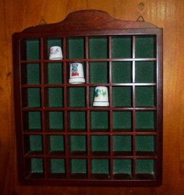 Old Collectable Wooden Thimble Wall Hanging Display - Holds up to 36 Thimbles!