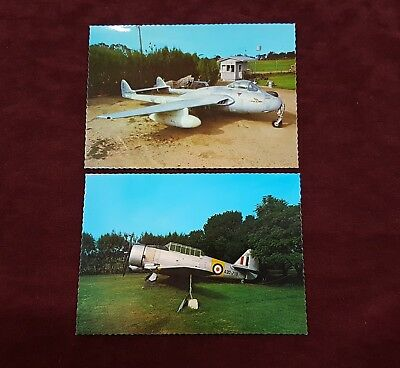 Colour Photo Postcards Of Ww2 War Planes Vampire & Wirraway Lot Of 2