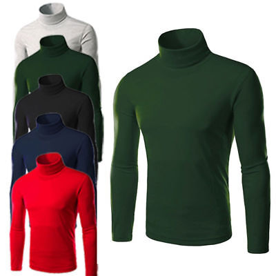 New Men Thermal High Collar Turtle Neck Skivvy Long Sleeve Sweater Stretch Shirt