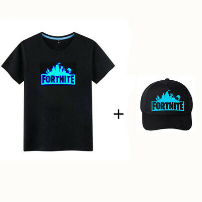 Kids Boys Luminous Fortnite T-shirt & Adjustable Hat Set Glow In the  Dark AU
