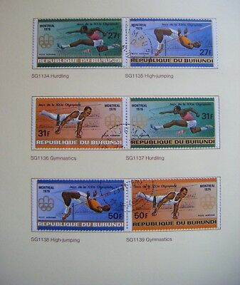 Set of 6 stamps.REPUBLIQUE du BURUNDI.Olympic games MontrealIssued 1976