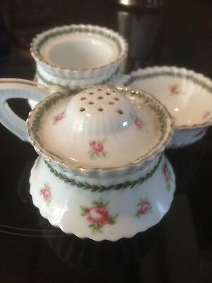 Early Possibly Staffordshire Roses Condiment Cruet Set Victorian