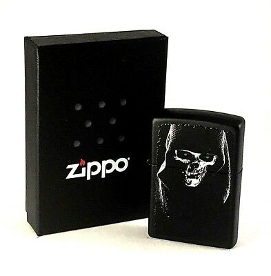 BRAND-NEW Zippo Hooded Skull Black Matte Windproof Lighter In Box, # 28436