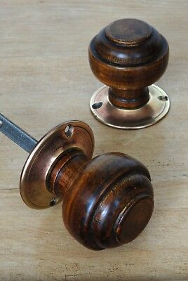 Antique Victorian Wooden Door Knobs Brass Backplate Vintage Reclaimed & Restored