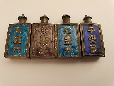 4 enameled silver chinese snuff bottle