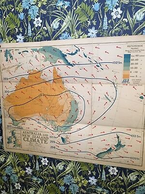 Old School Wall Map/Atlas Of Austrailia & New Zealand Climate circa 1940/50