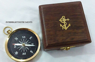 Vintage Maritime Antique Flat Compass With Wooden Box Collectible Decor Item .
