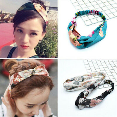 Women Girl Bohemian Hair Band Print Headbands Retro Cross Turban Headwear WFIT