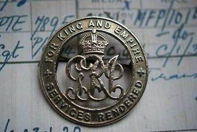Wwi Silver War Badge Actg Sgt Wiltshire Regt Later M F Police ** Note To Ebay
