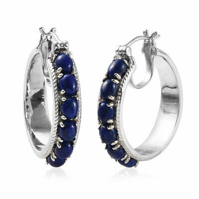 Girls Blue Lapis Lazuli Hoops Hoop Earrings Jewelry Hypoallergenic Ctw 5