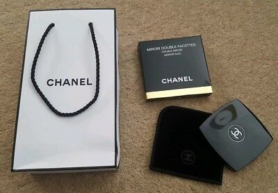NEW Chanel Compact Double Sided Handbag Mirror In Velvet Pouch with Gift Bag