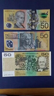 Australia $50 FIFTY NEW Three Generations (3 Pieces) Banknotes Bundle