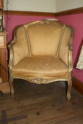 Louis 15 armchair reproduction in gold collect only isle of wight