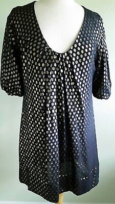 b663e4315c323 Tunic Dress FRENCH CONNECTION Sz 4 Silk Metallic Gold Dots Navy Blue Lined  Sexy!