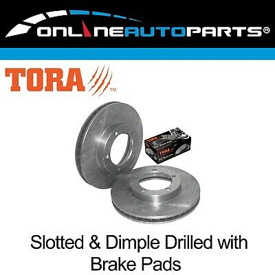 Front Drilled+Slotted Disc Rotors + 4wd Brake Pads suits Toyota FZJ105 HZJ105