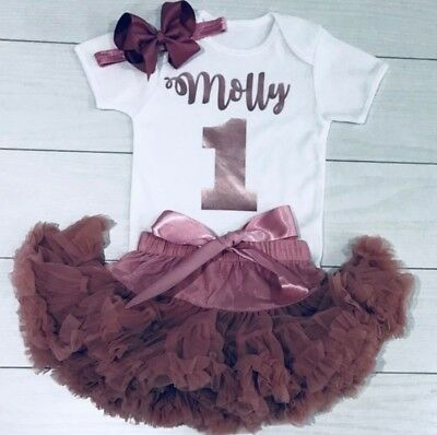 Girls First 1st Birthday Tutu Skirt Personalised Rose Gold Cake Smash Outfit Set