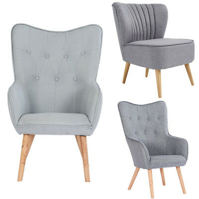 Occasional Accent Bedroom Chair Wing High Back Armchair Velvet / Fabric Seat UK