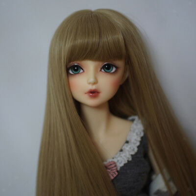 1/3 BJD Doll Wig Long Straight Hair For Dollfie DIY Hairpiece Linen Color