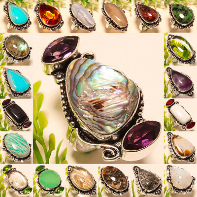 Christmas Gift !!! Free Shipping Mix-Stone 925 Silver Gemstone Jewelry Ring