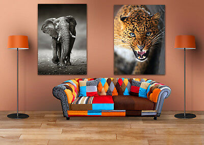 BEAUTIFUL ELEPHANT AND TIGER SCENERY 2 WALL ARTS high quality Canvas home decor