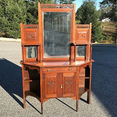 antique Victorian mirrored sideboard buffet
