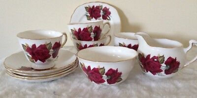 Royal Vale- Deep Red Rose- Fine Bone China 4 person Tea Set, strong gilding