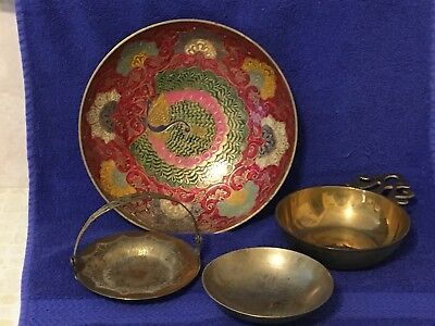 Vintage Lot of 4 Brass Bowls/Candy Dish/Change Holder