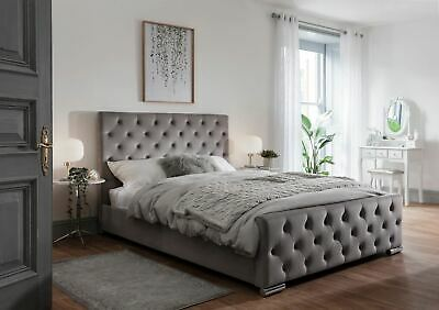 Grey Fabric Bed Frame Upholstered Double King Size