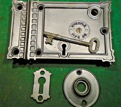 VINTAGE WHIPPLE HARDWARE RIM LOCK COMPLETE SET w/KEY: RECONDITIONED (5704-2)