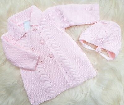 Spanish style baby girls Pink Knitted Coat & bonnet set 0-3 months. New.