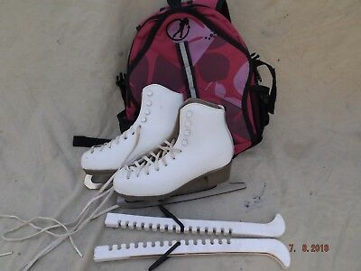 Girls Risport White Leather Ice Skates,blade Guards,bag,size 2 Uk,good Clean Con