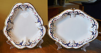Superb Pair of Antique Royal Crown Derby Serving Dishes 1909 Cobalt & Gold