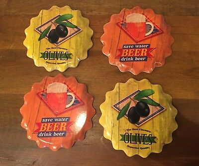 Ceramic Retro Drinks Coasters - 4 Pack - Olives Beer Gift Quality Orange Yellow