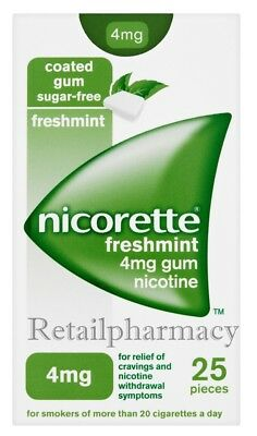 Nicorette Gum Freshmint 4mg pack of 25 Pieces Available packs 3, 6, 12, 18, 24
