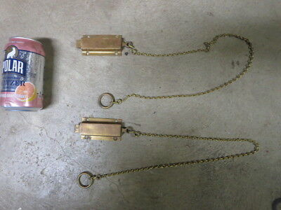 Vintage  Pair of Solid Brass Door Latch Bolt with Pull Chain